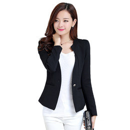 Wholesale Womens Office Jacket - Plus Size Fashion Womens One Button Suit Long Sleeve Slim Blazer Ladies Spring Atumn Casual Jacket Blazers OL Office Work Coats
