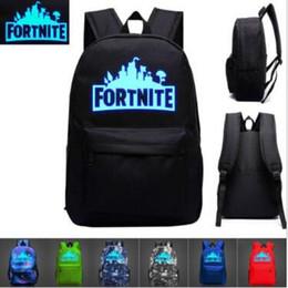 Wholesale nylon school bags backpack - 11 Designs 20L Fortnite Battle Royale School Bag Noctilucous Backpack Student Shoulder Bag Luminous Backpacks Outdoor Bag CCA9919 60pcs