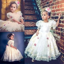 894f8583f88a Cute Flower Girl Dresses For Wedding Vintage Lace Applique Princess Floor  Length Puff Sleeves First Communion Gowns Pageant Dress
