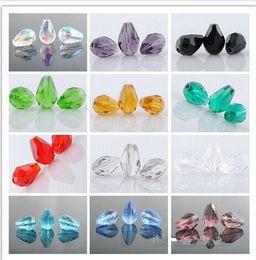 billes de sport en gros Promotion En gros 500pcs / Lot Perles en verre de cristal à facettes en forme de larme pour la fabrication de bijoux