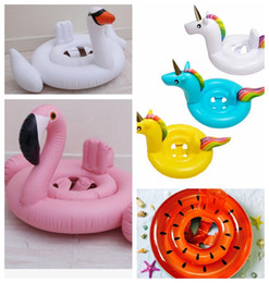 Wholesale infant inflatable pool - kids Inflatable Float Seat Water Toy Pool Swimming Ring Infant Unicorn Flamingo watermelon swan Pool Float Seat KKA4496