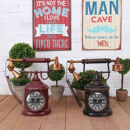 Wholesale antique style telephones - American creative home old-fashioned telephone seat bell pendulum bell retro watch living room decorate the clock