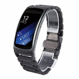черные металлические наручные часы Скидка Черный Fit 2 из нержавеющей стали часы замена полосы для Samsung Galaxy Gear Fit 2 SM-R360 большой 6.5-8.1 дюймов (металл черный)