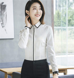 d27ddc78c49db 2018 Spring high quality Elegant women shirt fashion clothes formal slim  Contrast Color piping chiffon blouse office ladies plus size tops