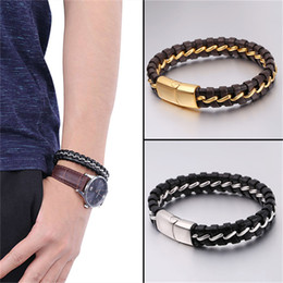 Wholesale hiphop leather - U7 Two Sizes Hiphop Men Women Genuine Leather Weave Bangle Bracelet Simple Design Trendy 316L Stainless Steel Wristband Jewelry GH2689