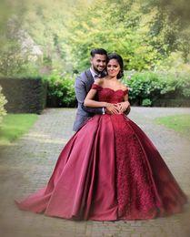 Wholesale Engagement Short Dress - 2018 Dubal Arab Bungundy Ball Gown Evening Dresses Sweetheart Off Shoulder Satin Lace Celebrity Engagement Gowns Bridal Quinceanera Dress