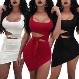 efe14347d62d33 2018 Summer Sexy Set Bag Hip Fashion Dress Women Sexy Sleeveless Slip Crop  Top Hollow Out Bodycon Irregular Mini Dress Low Chest
