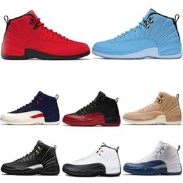 Wholesale college shoes - New Mens Designer 12 12s Bulls Vachetta Basketball Shoes Taxi The master Sports Sneakers Deep Royal Blue College Navy size 41-47