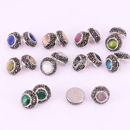 Wholesale Earrings Stud Finding - 12Pair Round shape pave crystal rhinestone mix color cat eye stone stud earrings fashion jewelry finding