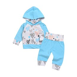Wholesale Chinese Boys Suit - 2018 Newborn INS 2pcs blue love Clothing Sets Spring Autumn Baby girl boy long sleeve hooded shirt+trousers Casual outfit fashion suit