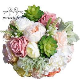 Ramo de novia Romántico Ramo de novia Plantas suculentas Ramo Flores de boda elegantes Flores de seda desde fabricantes