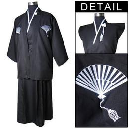 kimono japonés caliente Rebajas Caliente negro clásico japonés samurai ropa guerrero de los hombres Kimono con Obi tradicional Yukata Haori Halloween disfraz un tamaño