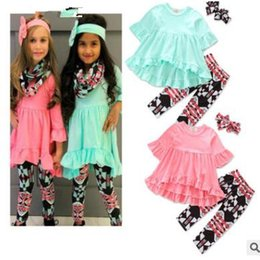 Wholesale Novelty Leggings - Baby Clothes Girls Flower Tops Pants Ins Fashion T Shirts Leggings Ruffle Shirts Dress Headband Shorts Outfits Kids Clothes KKA3942
