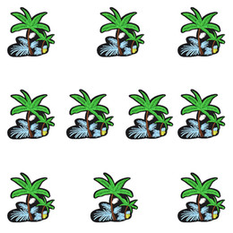 Wholesale Iron Fabric Flowers - 10PCS Flower Coconut Tree Patches Glue Embroidery Sew Patch Applique Stickers for Clothing Iron on Thermo for Fabric Apparel Patch Diy Craft