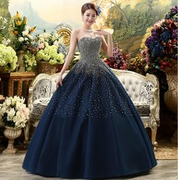 large lighted picture Coupons - Free Shipping New Dark Blue High-Grade Sequins Sexy Tube Top Dresses Tulle Large Hand-beaded Pants Skirt Prom Dresses HY1617