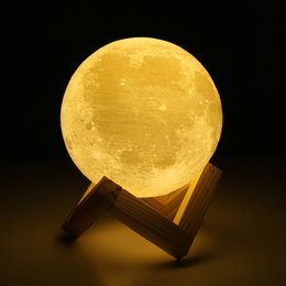 Wholesale 3d Printing Wholesale - Christmas Creative Gift 10cm 3D Print Moon Lamp 2 Color Changeable Touch Switch Bedroom Bookcase Night Light