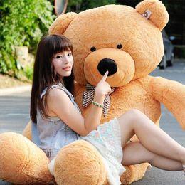 "Wholesale giant stuffed bear toy - New arrival 6.3 FEET TEDDY BEAR STUFFED LIGHT BROWN GIANT JUMBO 72"" 160cm birthday gift purple 5 colour choose free shipping OTH749"