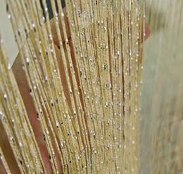 Soie bleu-vert en Ligne-Brillant Tassel Rideau Soie String Rideau Fenêtre Valance Porte Diviseur Sheer Panneau Rideaux String Rideau Décoration de La Maison