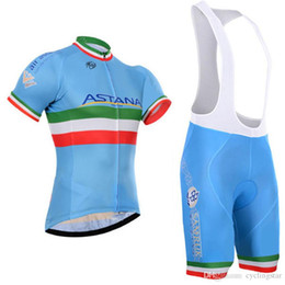 New Pro Team astana cycling jerseys short sleeve shirt and cycling bib  shorts suits Quickdry men tour de france Bicycle sports wear C1603 discount  cycling ... e470a8e37