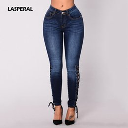 Wholesale Cross Strap Tights - LASPERAL Women Jeans Autumn Womens Fashion Hollow Out Cross Strap Bandage Pencil Pants Sexy 2017 Lace Up Hole Tight Ripped Jeans