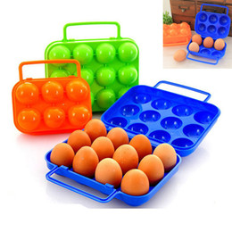 Wholesale food storage baskets - 12 Egg And 6 Egg Storage Box Portable Carry Plastic Egg Container Holder Case Folding Basket For Outdoor Travel Picnic Organizer HH7-922