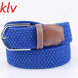 Wholesale Braided Black Belt Men - KLV High Quality Men and Women's Canvas belt elastic stretch canvas belt pin buckle Knitted braided belts young student