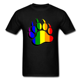 big blue shirt Promo Codes - 2018 Latest T-Shirt Novelty Gay Pride Bear Claw Rainbow Flag 3D Print T Shirt Summer Male Shirt French Big Size 3XL Full Cotton