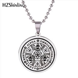 archangel pendants Coupons - 2019 New Stainless Steel Jewelry Sigil Magic Wicca Pendant Seals Of The Seven Archangels Necklace Wiccas Pendants Silver SS-007