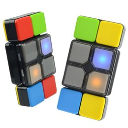 Wholesale Wholesale Kids Lighted Toys - Magic Cube Flipslide Puzzle Toy With Light Music For Kid Newest Fold Slide Cube Brain Teasers 4 Mode Multiplayer Speed Level Memory Toys