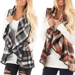 Wholesale Long Woolen Coats - Women Plaid Vests 8Colors Spring Summer Autumn Wide Lapel Sleeveless Cloak Woolen Coat Jackets Cardigan Ladies Pocket Waistcoat For Girl OMG