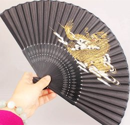 Wholesale Chinese Dragon Plates - Portable Golden-Plating Dragon Black Hand Fan Vintage Bamboo Chinese Silk Folding Fan Traditional Craft Ladies Fans Gift
