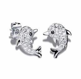 Wholesale Tiny Silver Beads - New Fashion Dazzle Tiny Beads Earrings Woman Jewelry Cute Animal Dolphin Shape White Gold Stud Earring Female 643