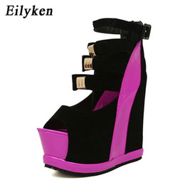 Wholesale Platform Wedges Sale - Eilyken Hot Sale New Summer Shoes Woman Sexy Ultra High Heels Female Sandals Platform Wedges Open Toe Women Shoes Princess