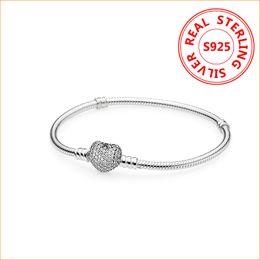 pietre bianche di platino Sconti Autentico 925 Sterling Silver Charms cuore bracciale per Pandora europeo perline braccialetto regalo di nozze gioielli per le donne con la scatola originale