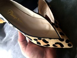 2019 leopardo impressão flats apontou dedo Frete grátis plano novo modo de couro genuíno apontou toe couro real impressão de leopardo crina mulheres sapatos sexy vermelho 494 leopardo impressão flats apontou dedo barato