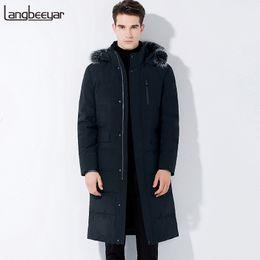 Wholesale Mens Fur Hood Parka - New Fashion Brand Clothing Men Down Jacket Men Winter Business Mens Winter Parka With Fur Hood Long Mens Jackets And Coats