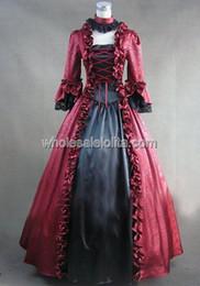 2019 robes de bal mascarade gothique Période victorienne gothique rouge et noir géorgien habiller Halloween costume de scène robe de bal mascarade robes de bal mascarade gothique pas cher