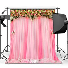 Wholesale Backdrop Vinyl Pink - Pink Curtains Flowers Wedding Indoor 5X7ft Children Baby Wedding Vinyl Photography Backdrops Backgrounds for Photo Studio