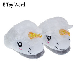Wholesale Grown Woman - 2016 New Winter Warm Slippers Women Casual Home Indoor Cute Cartoon Plush Unicorn Shoes For Grown Ups Pantufas