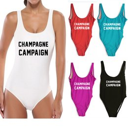 Wholesale pool high - Women One Piece Swimsuit CHAMPAGNE CAMPAIGN Bodysuit Swimwear Sexy High Cut Bathing Beach Pools Suits Women Jumpsuit Bikini HH7-1105