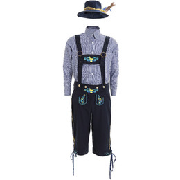 costumi oktoberfest uomini Sconti Men's Oktoberfest Lederhosen con bretelle Hat Costumes Set per Man Party Cosplay Cameriere Farmer Game Costumi Taglia M XL