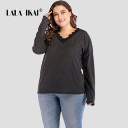 6d9c5185eec LALAIKAI Plus Size XL 2LXL 3XL 4XL Black Lace Patchwork Tshirt Women Loose  Long Sleeve Tee Casual Bottoming Tops Lady SWA1986-47