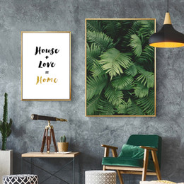 Wholesale Plant Quotes - Unframed Canvas Print Painting Poster of Ferns and Quote House Love Home,Nordic Green Plant Wall Picture for Home Decoration