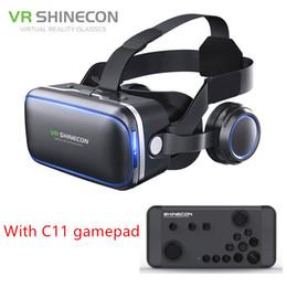 Google occhiali virtuali online-Autentico Shinecon 6.0 Pro VR Auricolare Stereo Virtual Reality Smartphone Occhiali 3D Google BOX Cuffia VR con telecomando per Android