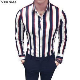 Mancuerna camisa delgada online-VERSMA 2018 Coreana Casual Slim Fit Vintage Camisa de Rayas de Manga Larga Hombres Verano Tropical Social Hombres de lujo Camisa de Partido Gemelos