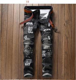 Wholesale Mens Slim Jeans Size 38 - hight quality Men's Distressed Ripped Biker Jeans US Size 28~38 Slim Fit Motorcycle Biker Denim For Men Brand Designer Hip Hop Mens Jeans