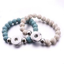 Wholesale turquoise jewelry wholesalers - Natural Stone Noosa Snap Jewelry Handmade Beaded Snap Bracelet Fit 18mm Snap Button Elastic Strand Beads Bracelet
