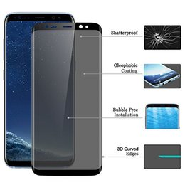 Wholesale 3d Spy - 3D Curved Privacy Tempered Glass For Samsung Note 8 S6 S7 edge S8 Plus Anti-Spy Peeping Screen Protector With Retail Package