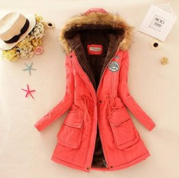 Wholesale Womens Brown Winter Jacket - 2017 New Winter Women Jacket Coat Hooded Fur Collar Parkas Female Thickening Cotton Winter Jacket Womens Outwear Parkas for Female Winter