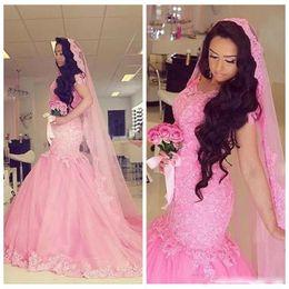 vestidos de boné africano Desconto Pink Lace Mermaid Wedding Dresses 2018 Summer Cap Sleeves Vestidos de noiva Custom Made Sweep Train Vestidos de casamento africano Frete grátis